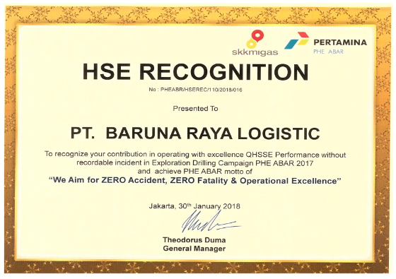 Hse Recognition From Pertamina Phe Abar 2018 Awards Pt